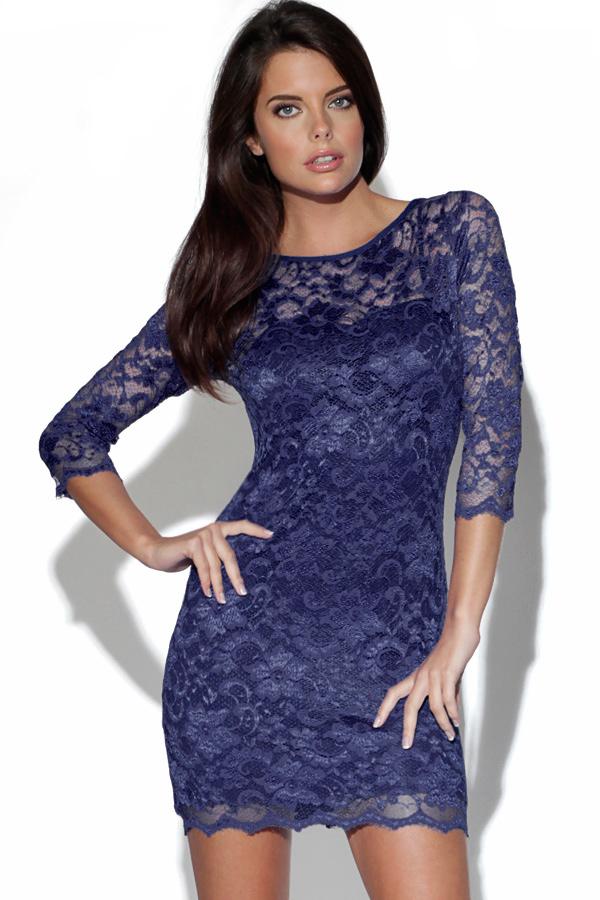bd7d9a6cc91 Blue Party Dress - Navy Blue Lace Dress with