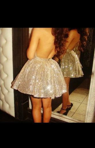 dress prom dress bag skater dress sparkly dress gold sparkly short dress