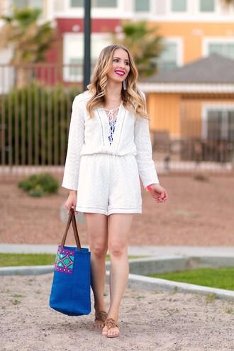 romper white romper blue bag brown sandals blogger