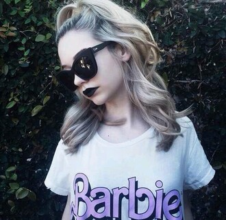 t-shirt barbie shirt barbie top sunglasses grunge t-shirt youtuber chic white tee