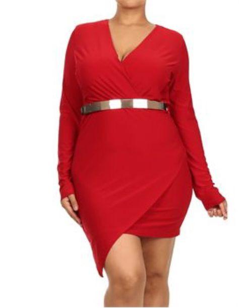 dress: red dress, red, plus size, plus size dress, longsleved
