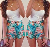 shorts,water color,rainbow,High waisted shorts,tropical,blue,floral,flowers,shirt,jewels