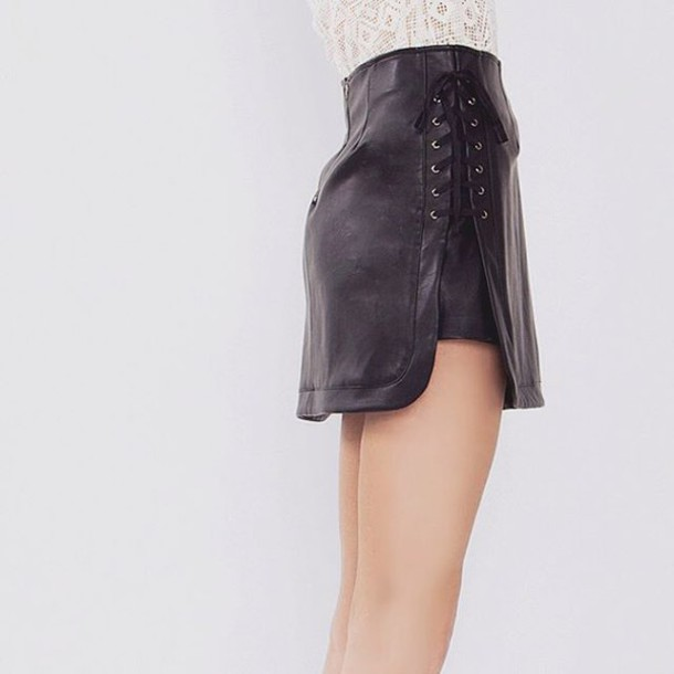 c7dbe0d5f5b skirt, leather skirt, black leather skirt, tie up skirt, lace ...