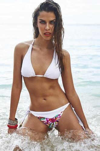 swimwear cheeky criss cross exclusive floral halter top rwb white