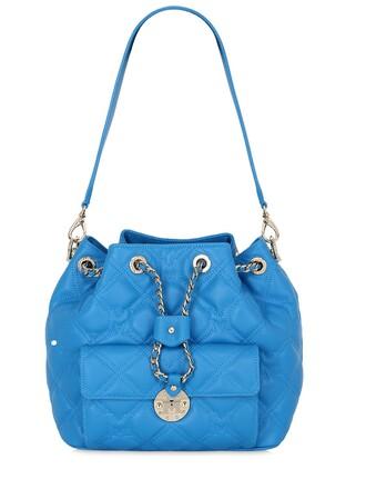 quilted bag bucket bag leather blue royal blue
