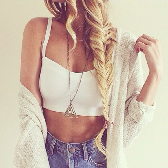 fishtail braid white t-shirt crop tops sweater jewels tank top casual beach triangle denim cardigan necklace bag crop cropped jeans denim shorts oversized