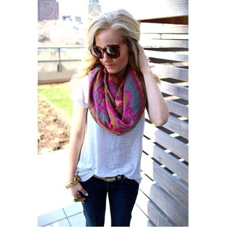 scarf design pink orange grey print pretty