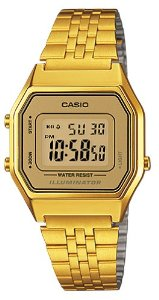 Size gold tone digital retro watch la
