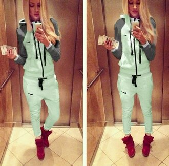 sweater coat mint jacket hoodie nike tracksuit pants zip sportswear jumpsuit tracksuit bottoms sporty style sporty chic hoodie coat long sleeves jumper