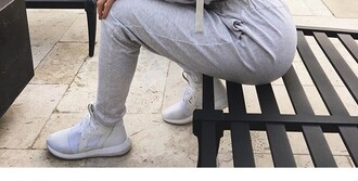 shoes grey white blouse joggers