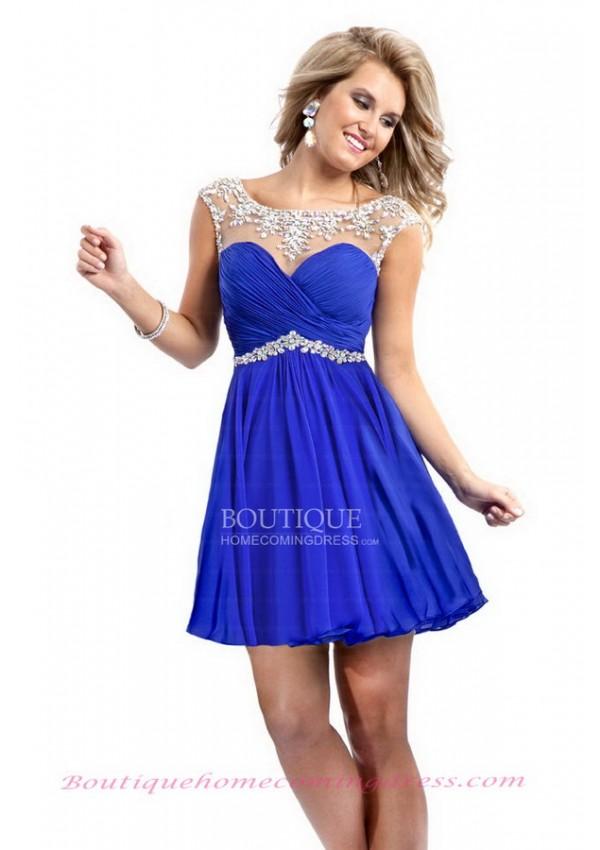 Illusion neckline sheath chiffon short blue open back homecoming dress with beading