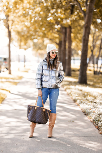 styleofsam blogger jacket winter outfits hat beanie metallic jacket bag louis vuitton bag boots knee high boots
