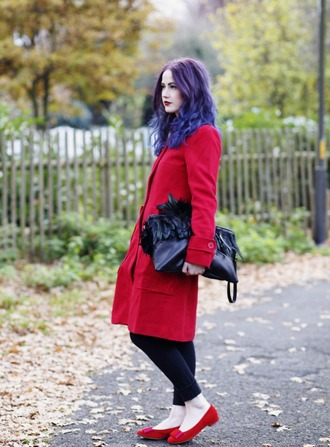 blogger like a riot jeans coat red ballet flats feathers pouch
