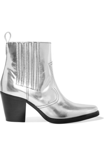 Ganni leather ankle boots metallic ankle boots silver leather shoes