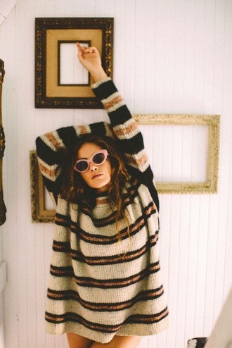 sweater stripes yellow black grey vintage fall outfits striped sweater