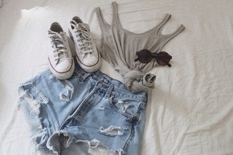 shorts tank top crop tops gray shirt