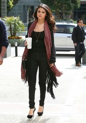 scarf,selena gomez,sweater,shoes,cardigan