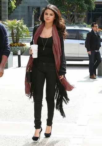 scarf selena gomez sweater shoes cardigan