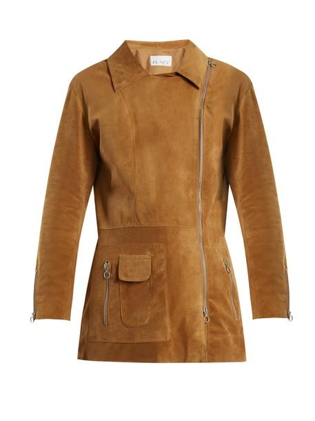 Raey jacket biker jacket long suede tan