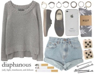 sweater grey sweater huff socks vans sneakers vans cigarettes rings and tings shorts