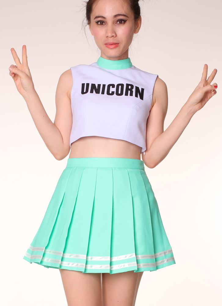 Glitters For Dinner ? Made To Order - Unicorn Cheerleading Style Crop Top