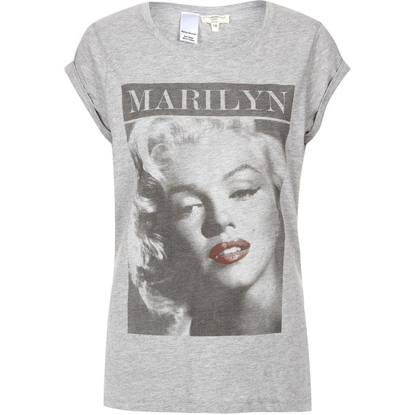 Grey Marilyn Monroe Roll Sleeve T-Shirt - Polyvore