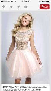 a-line,scoop,short,tulle skirt,light pink,homecoming dress,prom dress,nude,dress,jovani peach,prom,pink dress,pink,blonde hair,pretty,beautiful,gown,wedding dress