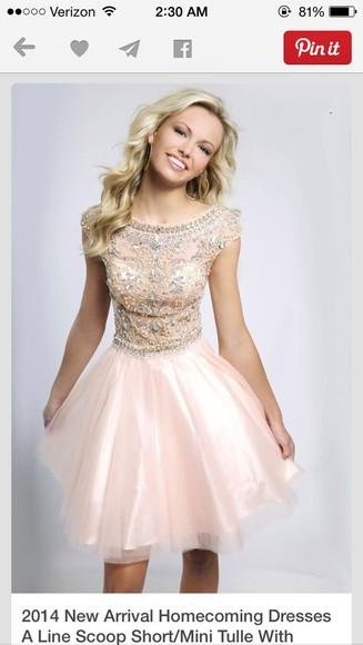 tulle short homecoming dress a-line scoop light pink