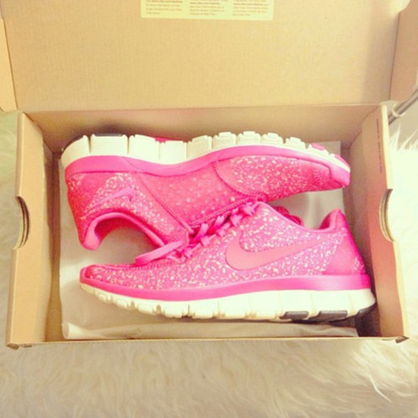 shoes sporty pink shoes nike nike running shoes nike free run nike free run glitter shoes