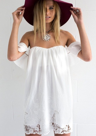 beginning boutique white boho dress white dress off the shoulder dress lace dress boho bohemian bohemian white dress bohemian dress hippie dress hippy dress summer dress maroon hat floppy hat sun and moon necklace choker