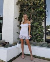 dress,mini dress,ruffle dress,off the shoulder dress,mid heel sandals,shoulder bag,white dress