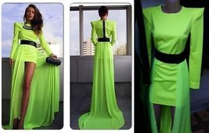 Womens Neon Green Black Maxi Dress Chiffon