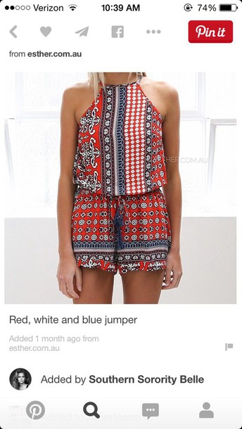 romper red white blue high neck