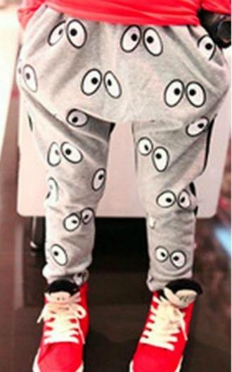 white black grey pants eyes sweatpants grey pants