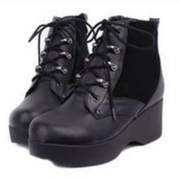 shoes black platform shoes boots