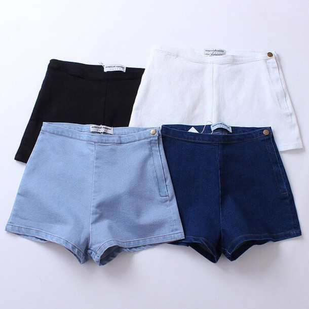 Shorts: denim shorts, white, blue, navy, black, denim, jeans, high ...