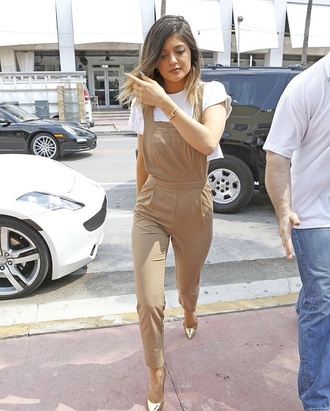 pants kylie jenner cream kardashians jumpsuit kylie jenner color nude overalls romper tan brown