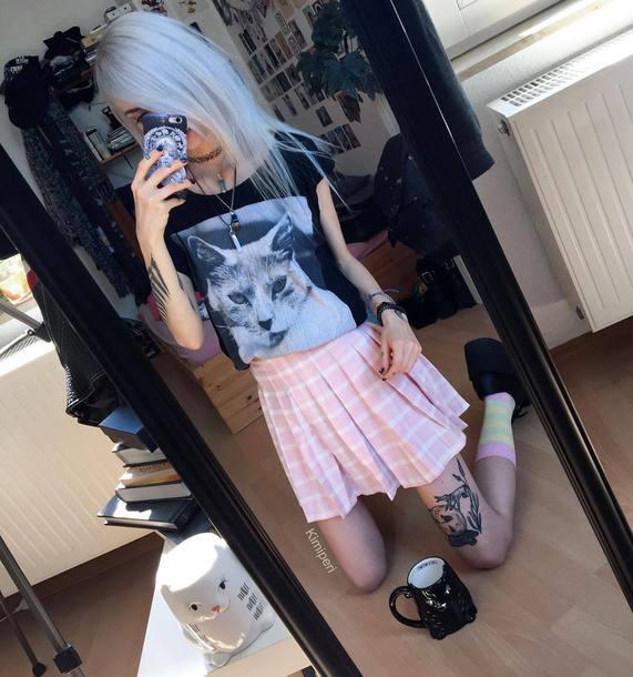 t-shirt black shirt pastel goth black aetshetic japanese cute kawaii nu goth