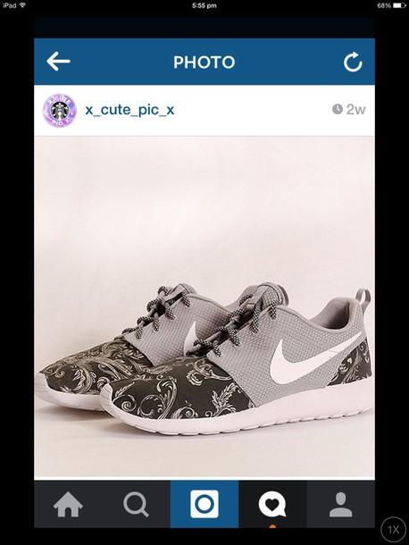 shoes nike nike roshe run pattern floral
