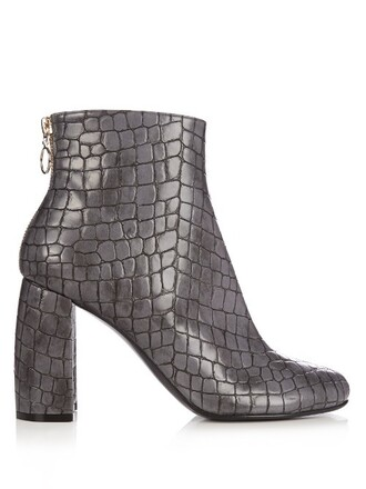 heel leather ankle boots boots ankle boots leather grey shoes