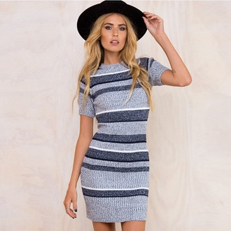 dress knitwear fashion grey style casual trendy fall outfits stripes musheng