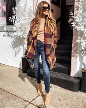 coat,checkered coat,jeans,ankle boots,sweater,black sunglasses