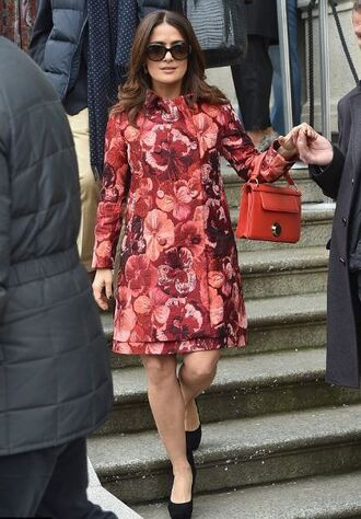 coat salma hayek red