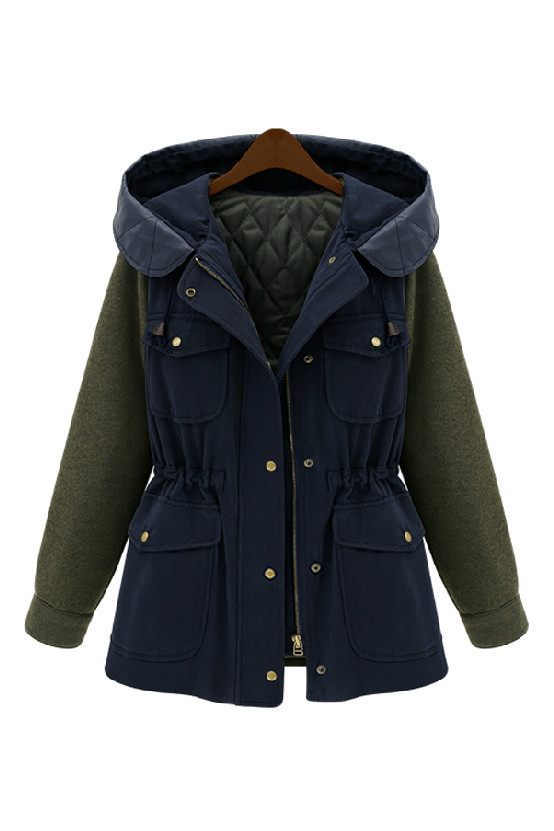 Blue Miliary Green Women Color Block Quilted Hooded Parka Jacket