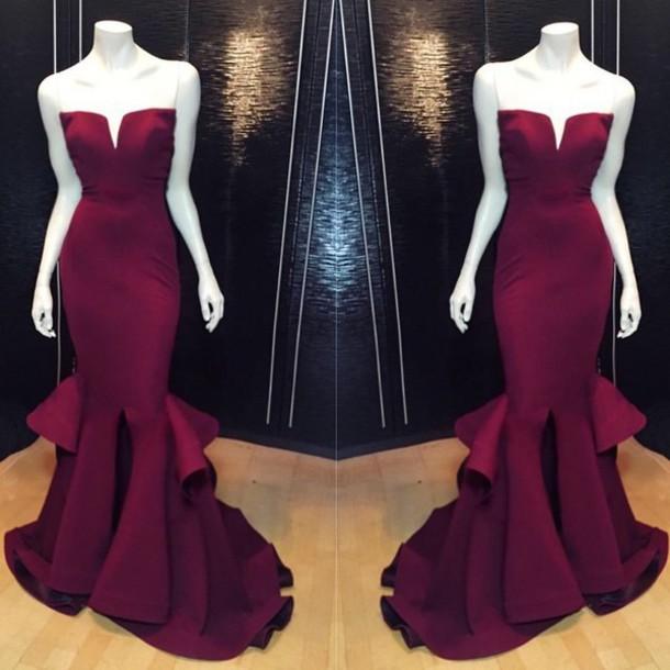 Aliexpress.com : Buy Sexy Slim Mermaid Burgundy Prom Dress Ruffles ...
