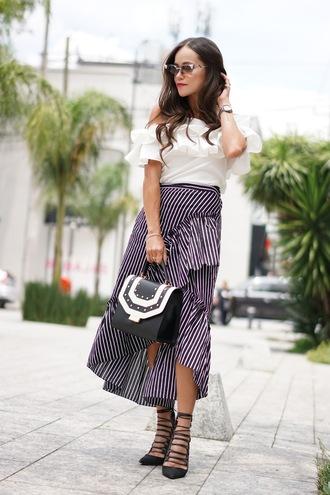 top tumblr off the shoulder off the shoulder top skirt midi skirt ruffle wrap skirt wrap ruffle skirt bag high heels heels