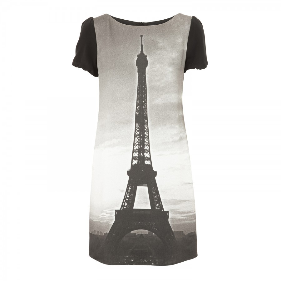Eiffel tower print dress, day, harvey nichols store view