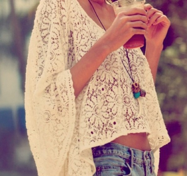 blouse lace flowers white cream girly pretty beach summer now t-shirt