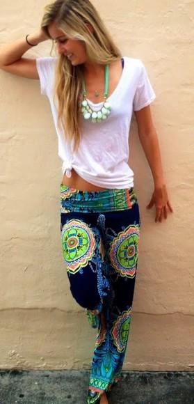 original classy colorful baba cool beach cool dun sun summer outfits jewels bikini t-shirt printed pants