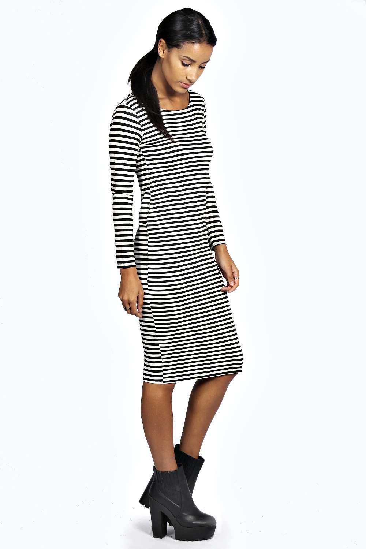 Sara stripe bodycon midi dress